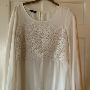 Cream Lace Sheer Top
